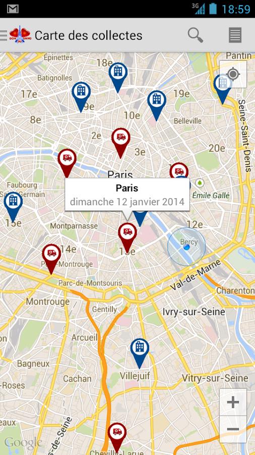 Plan géolocalisation des lieux de don du sang les plus proches